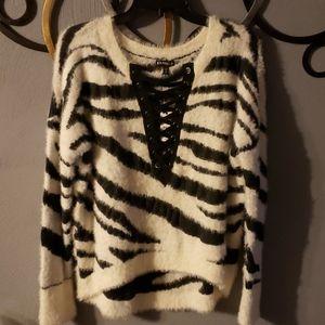 Express Soft Zerba Print Corset Neck Sweater M